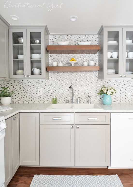 Gray white kitchen remodel centsational girl for Grey wood kitchen cabinets