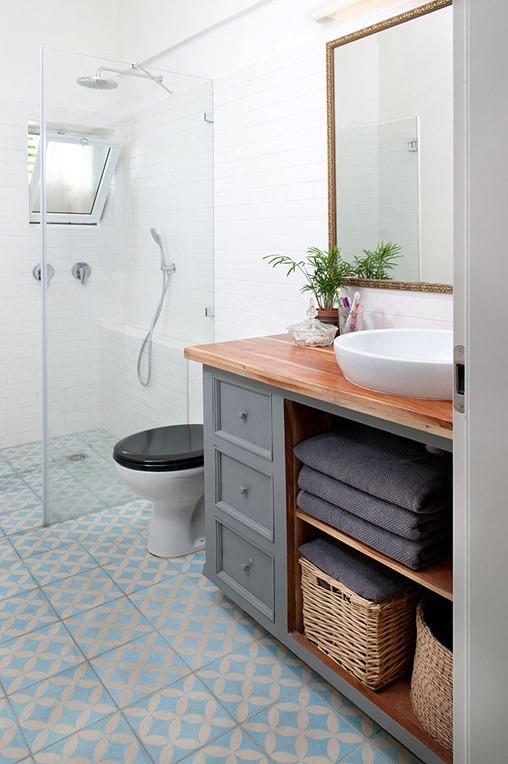 gray vanity wood bathroom countertop