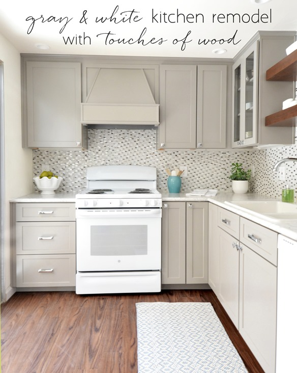 gray white kitchen remodel touches of wood
