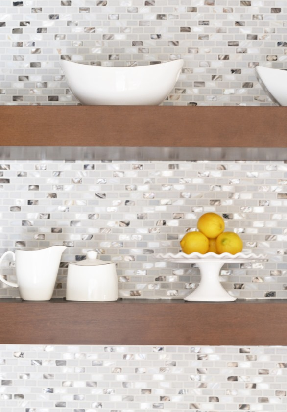 irridescent backsplash wood shelves