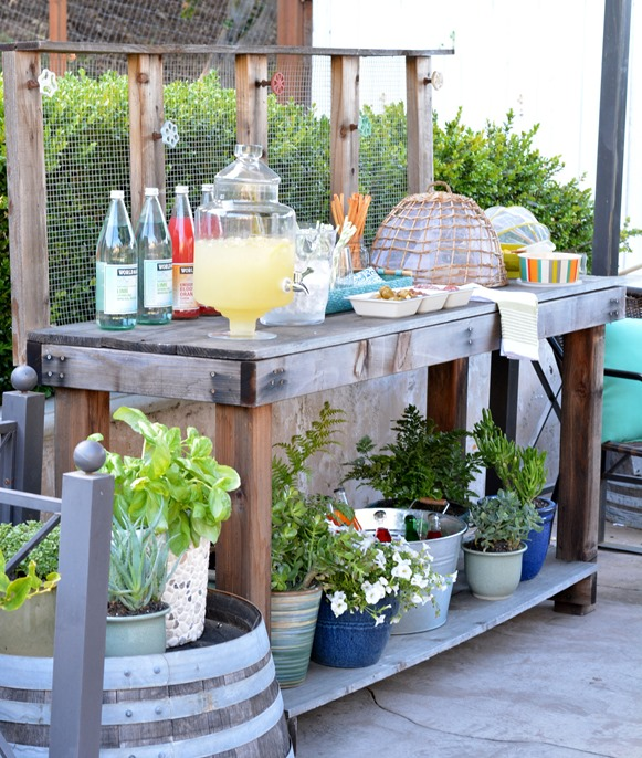 potting bench beverage bar