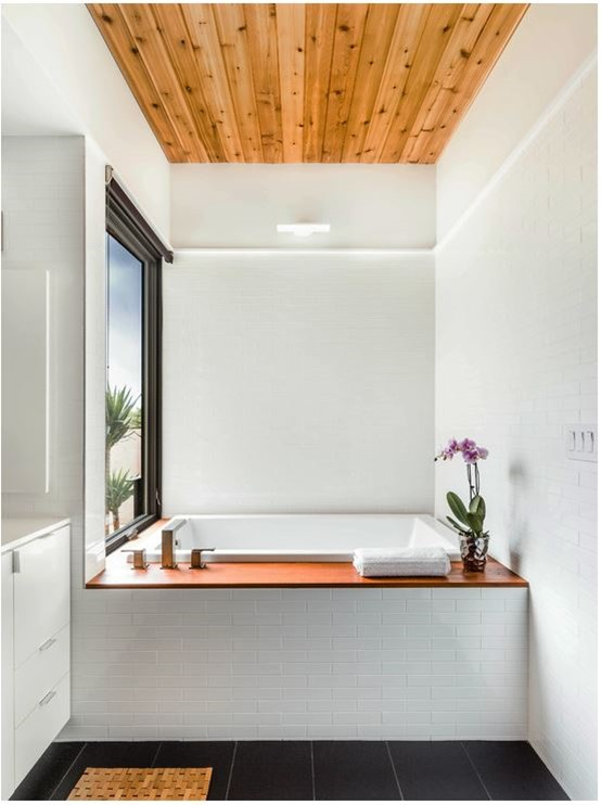 wood and white bathroom
