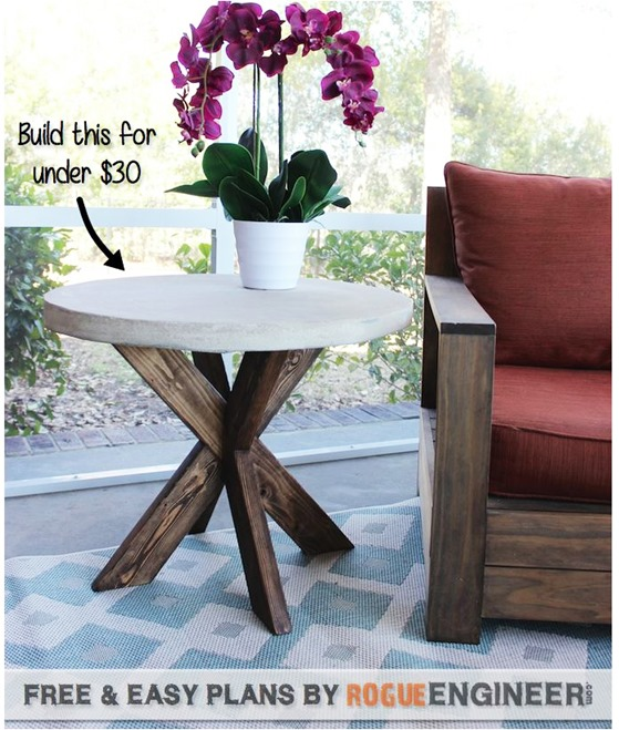 concrete top x base table