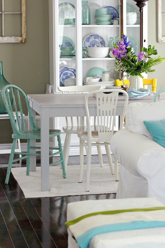 mismatched painted chairs