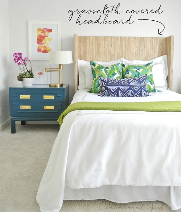 grasscloth covered wingback headboard
