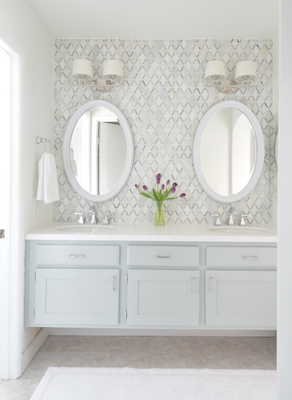 master vanity makeover diamond backsplash tile