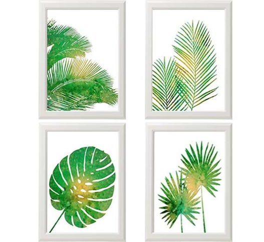 tropical palm print set