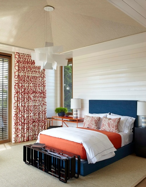 blue and orange bedroom
