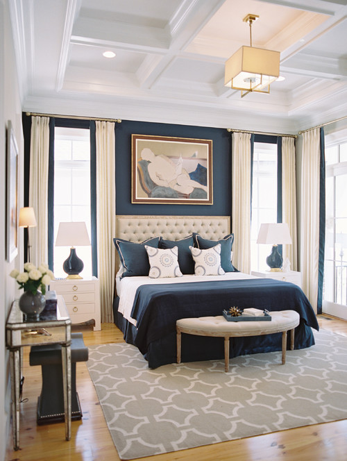 navy and cream bedroom