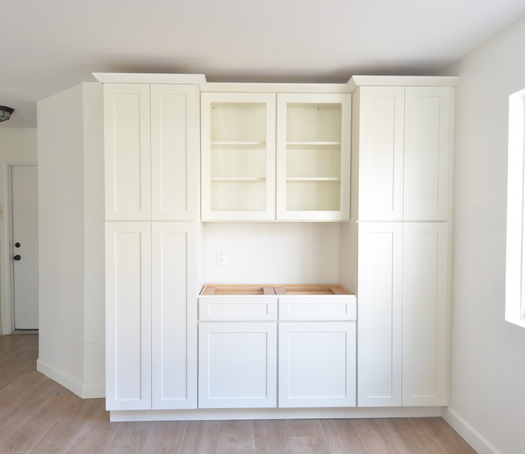 trimmed pantry cabinets