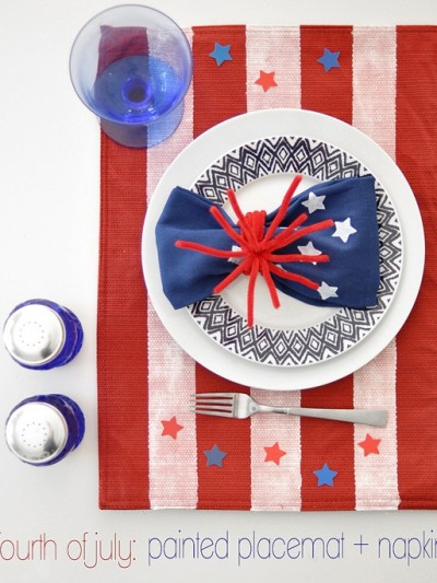 4th of july painted placemat and napkin