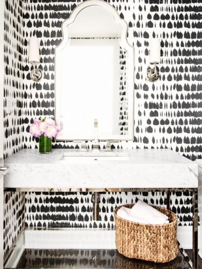 abstract black and white wallpaper powder room