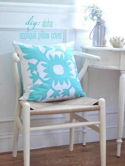aloha inspired applique pillow