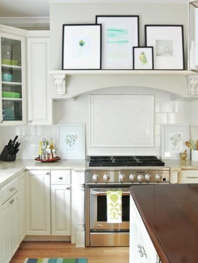 art on kitchen mantel