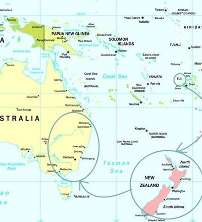 australia new zealand fiji