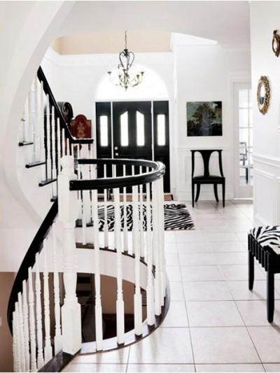 black and white staircase style at home