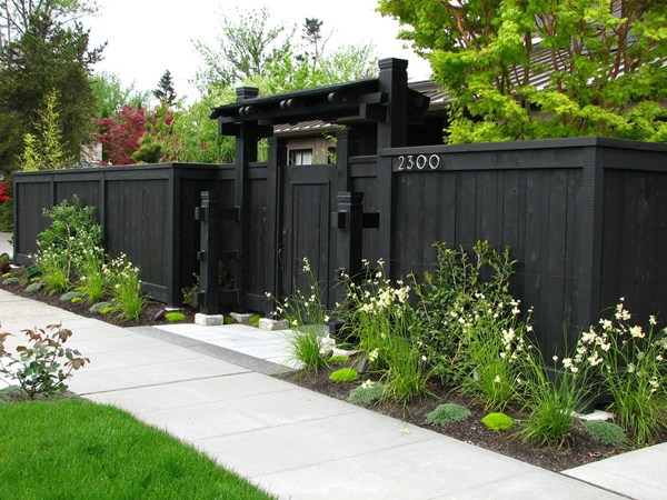 black fencing and gate
