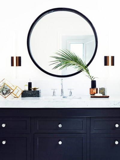 black painted vanity