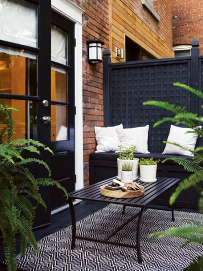 black patio divider