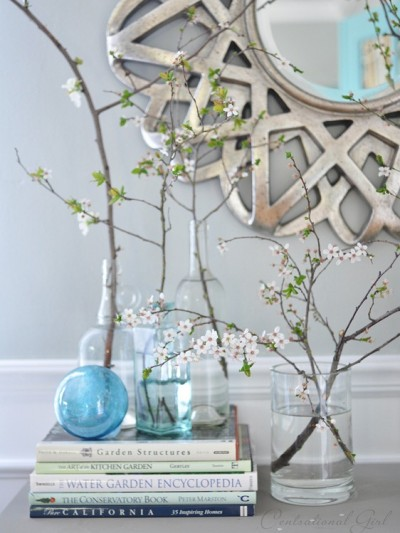 blooming branches in vases