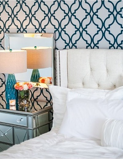 blue and white glam bedroom nathanwalker