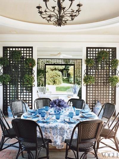 blue tablescape vogue tori burch