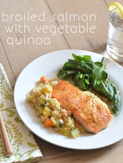 broiled salmon with vegetable quinoa