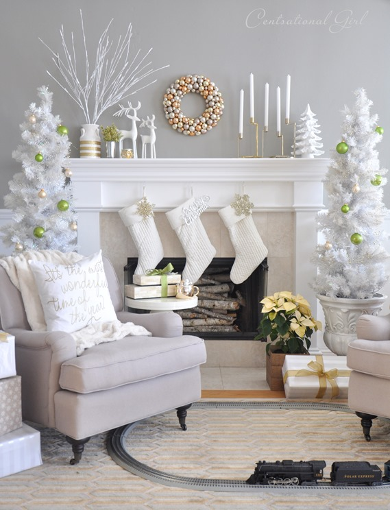 mixed metallics christmas mantel centsational style