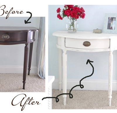 console table before and after paint
