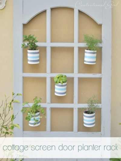 cottage screen door planter rack cg