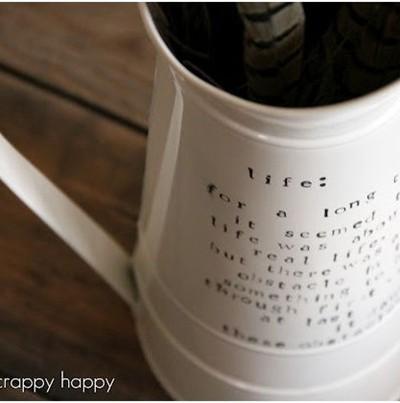 crafty scrappy happy script vase