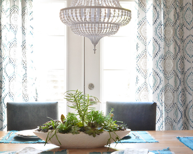 dining room succulent centerpiece