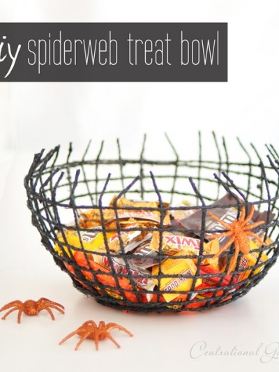 diy spiderweb halloween treat bowl