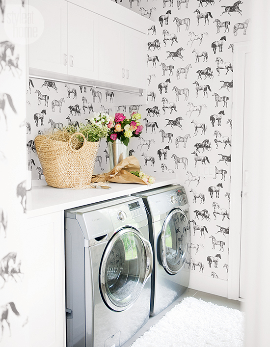 Wallpapered laundry rooms centsational style for Wall papers for rooms