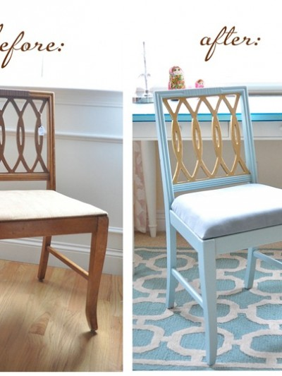 gold leaf chair before and after