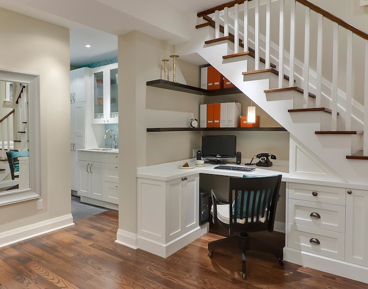 home office under stairwell
