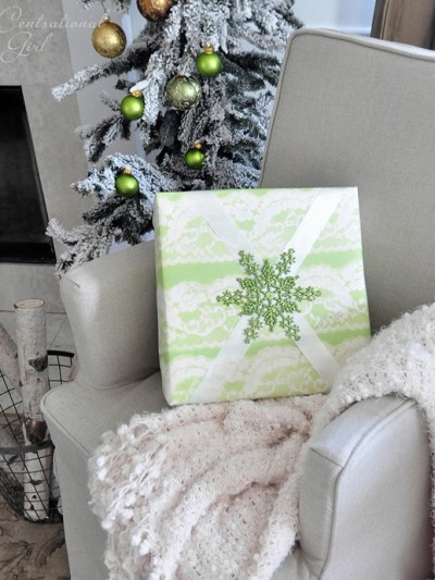 lace stenciled gift wrapped package