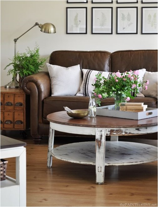 Decorating Around a Leather Sofa | Centsational Style