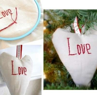 love stitched ornament
