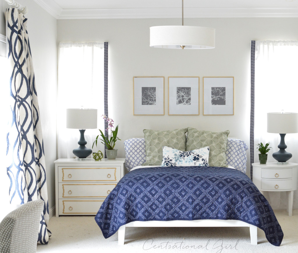 navy white bedroom centsational girl