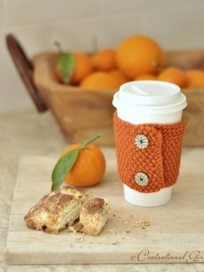 orange coffee cozy