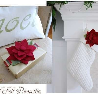 red felt poinsettias
