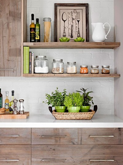 rustic kitchen cabinets and open shelves brick wall