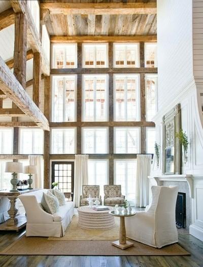 rustic open beam living room