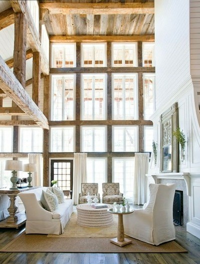 rustic open beam living room