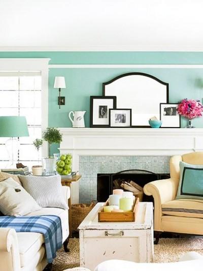 sea green walls and tile bhg