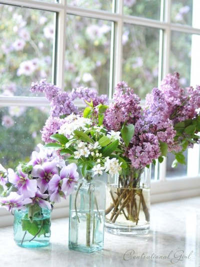 spring blooms in bottles