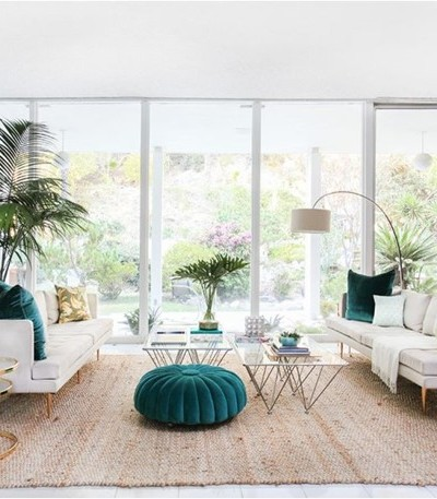 teal white gold palm springs home tour