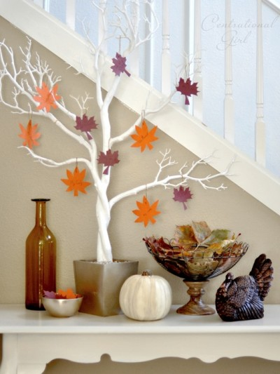 thankful tree in entry
