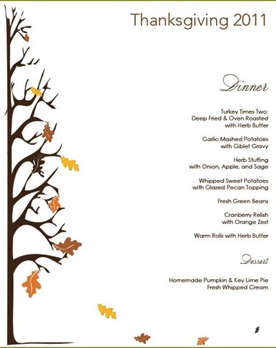 thanksgiving menu 1
